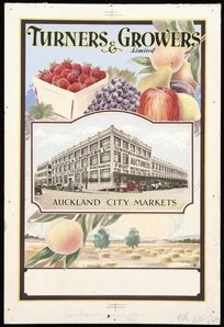 [Rykers, Leslie Bertram Archibald], 1897-1976 :Turners & Growers Ltd. Auckland city markets [ca 1931].  Alexander Turnbull Library